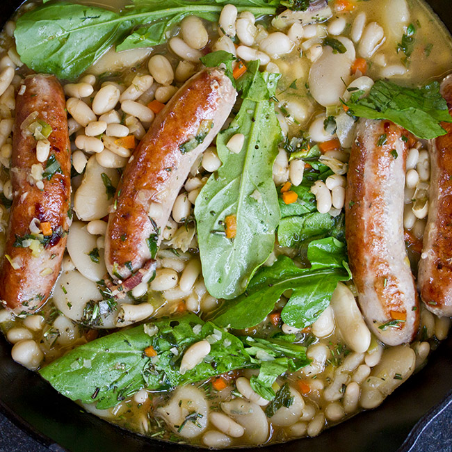 rabbit sausage with braised beans