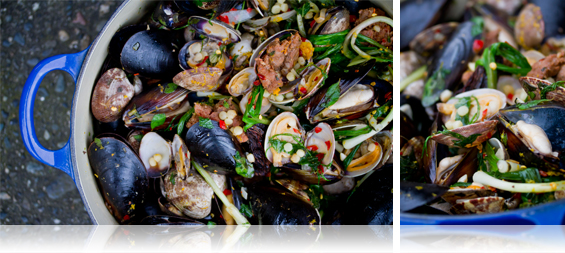 Shellfish w/ Lamb Merguez Sausage, Fennel & Fregola - Marx Foods Blog