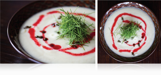 Parsnip & Vanilla Soup with Beet Oil & Fried Capers