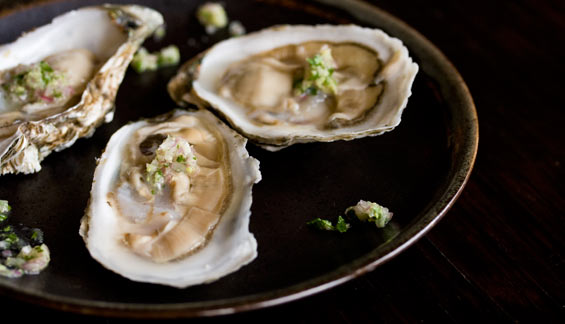 Raw Oysters with a Wasabi Mignonette Sauce